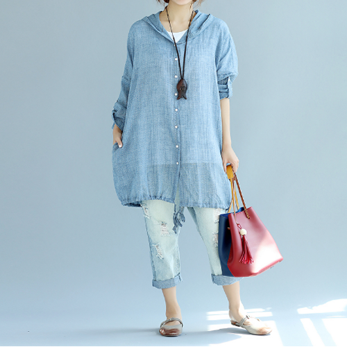 Oversized Summer Cotton Hoodie Jacket_Blue