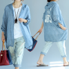 Oversized Summer Cotton Hoodie Jacket_Blue_back