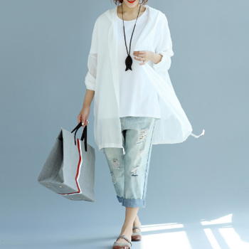 Oversized Summer Cotton Hoodie Jacket_White1