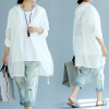 Oversized Summer Cotton Hoodie Jacket_White_back