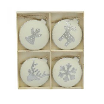 Christmas Decorations - Cream & Silver Set of 4