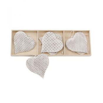 Christmas Ornaments - Metal Hearts Set of 6