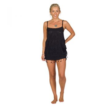 Black Embroidered Singlet Shift