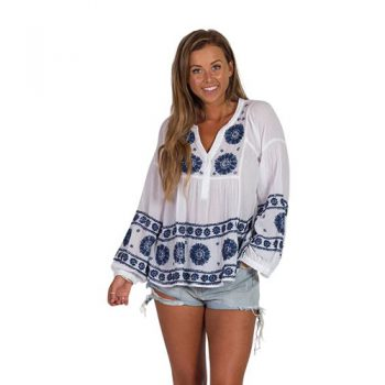 Blue & White Embroidered Shirt
