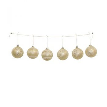 Gold & White Christmas Baubles Set of 6