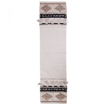 Table Runner - Woven Cream & Black
