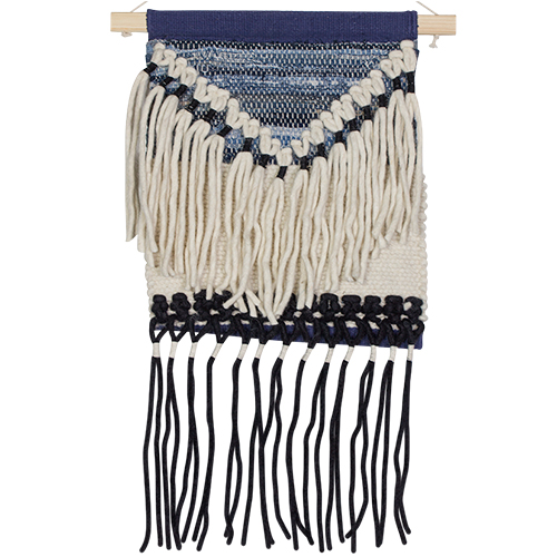 Woven Wall Hanging - Cream & Navy