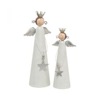 Standing Angels. Cream & Silver (Set of 2)