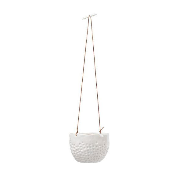 White Dotty Hanging Pot